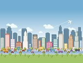 Colorful cartoon city landscape