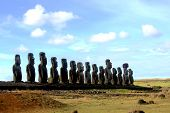 Fifteen Moai, Easter Island, Chile