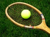 Vintage tennis racket at the Wimbledon