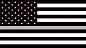 Usa Flag With A Thin Gray Or Silver - A Sign To Honor And Respect American Correctional Officers, Pr poster