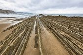 Flysch Dramatic Rock Coastline Formation Basque Country In Zumaia, Spain poster