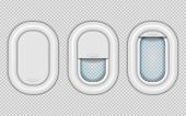 Airplane Windows. Realistic Aircraft Porthole In Different Positions, Open Closed And Half Closed. V poster