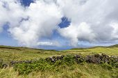 Pastures And A Volcanic Fence With Sao Jorge Island In The Distance On Pico Island In The Azores, Po poster