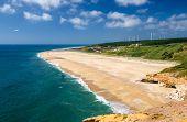 Portugal, Nazare, Wonderful Coastline Landscape Of Nazare Beach In Summer,  Wide Beaches With Azure  poster