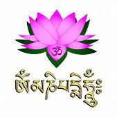 Lotus Flower, Om Symbol And Mantra 'om Mani Padme Hum'