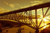 Deception Pass Bridge Between Whidbey Island And Fidalgo Island, Pacific Northwest, Washigton, Usa poster