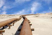Oil pipeline in the desert of Bahrain