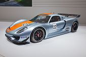 GENEVA - MARCH 8: The Porsche 918 RSR on display at the 81st International Motor Show Palexpo-Geneva on March 8; 2011 in Geneva, Switzerland.