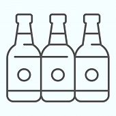 Bottles Thin Line Icon. Three Empty Glass Bottles Vector Illustration Isolated On White. Beer Bottle poster