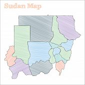 Sudan Hand-drawn Map. Colourful Sketchy Country Outline. Vector Illustration. poster