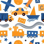 Vector Seamless Pattern With Vehicles And Toys For Children. Yellow And Blue Background For A Childr poster