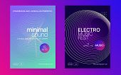 Electronic Party. Dynamic Fluid Shape And Line. Trendy Show Cover Set. Neon Electronic Party Flyer.  poster