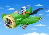 stock photo of rabbit hole  - The small green fighter plane with a rabbit in a cabin is falling down - JPG