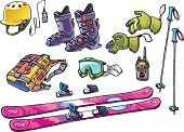stock photo of ski boots  - The set of the equipment of a backcountry freerider - JPG