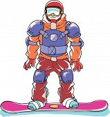 Fully armored snowboarder