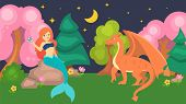 Mermaid Pretty Girl With Pearl And Evil Dragon Vector Illustration. Fairytale Fantasy Mythological C poster