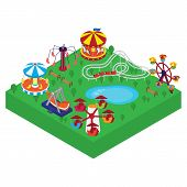 Amusement Park Vector Isometric Illustration. Different Outdoors Amusement Attractions Carousels, Sw poster