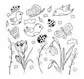 Springtime Outlined Hand Drawn Simpe Childlike Doodles Set. Cute Cartoon Hand Drawn Doodle Illustrat poster
