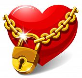 Red heart locked with chain. Love concept. Vector illustration.