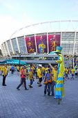 Soccer Fans Go To The Olympic Stadium (nsc Olimpiysky) in Kyiv