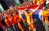 Holland Football Team Supporters Walk On A Street Of Kharkiv