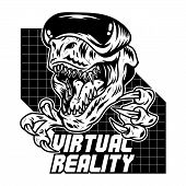 T Rex Dinosaur Angry Gamer Which Play Virtual Arcade Video Game In Modern Vr Glasses. Mascot Sport L poster