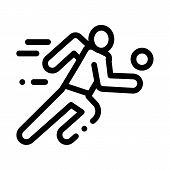 Volleyball Player In Run Icon Vector. Outline Volleyball Player In Run Sign. Isolated Contour Symbol poster