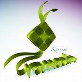 Vector 3D Muslim Ketupat for Ramadan Translation: Ramadan Kareen - May Generosity Bless You During The Holy Month