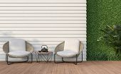 Empty Wall Exterior 3d Render,there Are White Wood Plank Wall And Wooden Floor,decorate With Rattan  poster