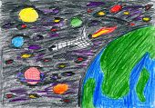 pencil drawing on paper - spaceship flies from an earth orbit into space, many planets and stars poster