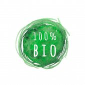 Eco, Organic Labels. Green Abstract Hand Drawn Watercolor Background. Natural, Organic Food Or Cosme poster