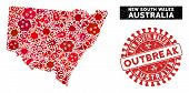Epidemic Collage New South Wales Map And Red Corroded Stamp Watermark With Outbreak Caption. New Sou poster