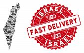 Shipping Collage Israel Map And Corroded Stamp Watermark With Fast Delivery Badge. Israel Map Collag poster