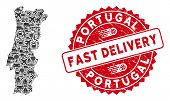 Logistics Collage Portugal Map And Rubber Stamp Seal With Fast Delivery Words. Portugal Map Collage  poster