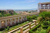 Generalife  garden and city of Granada, Spain