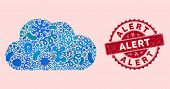 Infected Mosaic Cloud Icon And Round Corroded Stamp Watermark With Alert Caption. Mosaic Vector Is F poster