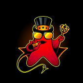 Devil smiley with cigar and trident over black