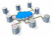 stock photo of cylinder  - Cloud computing database network web hosting and internet business telecommunication concept - JPG