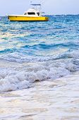 Waves Breaking On Tropical Shore