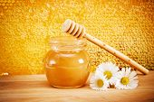 Jar Of Honey And Flovers. On The Background Of Honeycombs