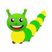 Amusing Caterpillar On A White Background