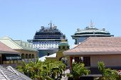 stock photo of west indies  - Two cruise ships docked in port in St - JPG