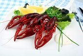 Red Boiled Crayfish With Lettuce, Lemon And Cutlery