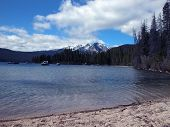 stock photo of redfish  - The Sawtooth Mountains provide a beautiful backdrop for Redfish Lake located near Stanley, Idaho. ** Note: Slight graininess, best at smaller sizes - JPG