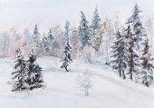 Winter Holz im Raureif