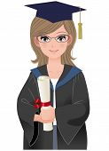 Cute Female Graduate In Academic Dress