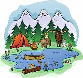 stock photo of cattail  - A camp site in the mountains and pine trees with a fire burning and some wild animal friends - JPG