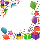 picture of happy birthday  - Colorful birthday balloons with gift boxes and confetti - JPG