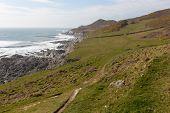 South West Coast Path view Woolacombe Devon England