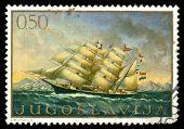 Selo vintage representando um navio à vela